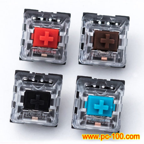 Many colors of mechanical switches for mechanical gaming keyboard with different features.