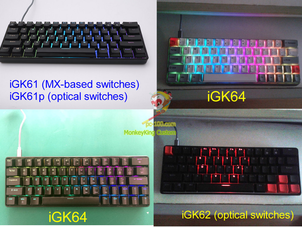 programmable 60% mechanical keyboard with RGB backlit effects and hot swappable switches.