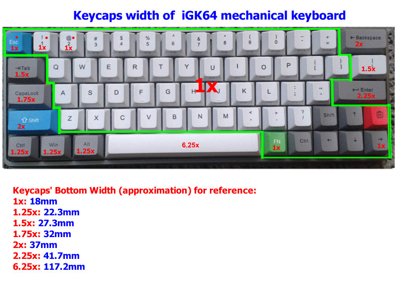 keycaps-set-size-of-iGK64-mechanical-keyboard