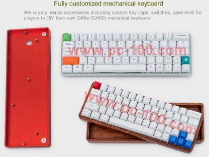 GH60 programmierbare mechanische Tastatur mit RGB-Hintergrundbeleuchtung und steckbare Schalter(64 Schlüssel)