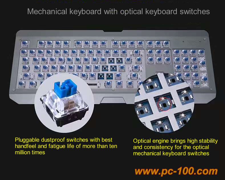 Optical keyboard switches makes mechanical keyboard a longer lifetime of 80M times