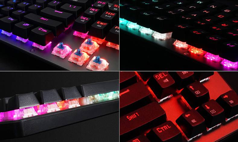 RGB back light of mechanical gaming keyboard, backlit effects were predefined and could be adjusted by shortcut keys or settings in driver software.