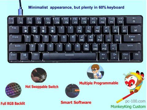 61-key poker layout mini RGB programmable mechanical keyboard SmartMonkey, better code 61 keyboard