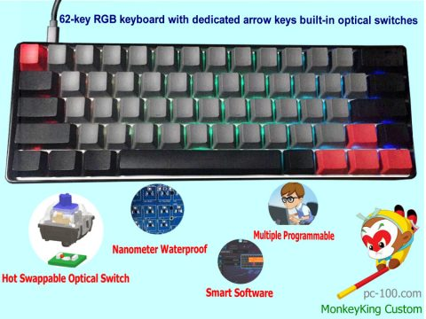 62-key hot swappable optical switches mechanical keyboard, RGB programmable, best buy 60% compact keyboard 2017