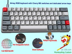 64-key compact mechanical keyboard, arrow keys, Cherry MX switches, full RGB illuminated