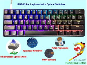 61-key light strike optical switches mechanical keyboard, waterproof & dustproof board, poker layout